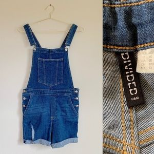 H&M Distressed Bib Overall Shorts Blue Size 10